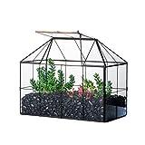 NCYP terrario de vidrio geométrico, rejilla negra decoración de la casa,...